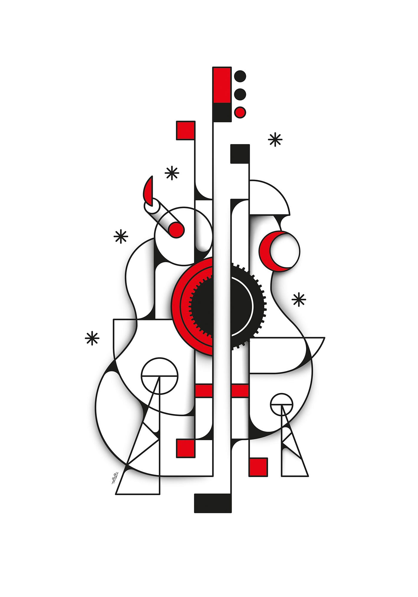 Cubismo festival Flamenco Guitarra ilustracion lineas rojo cubism ILLUSTRATION  vector art