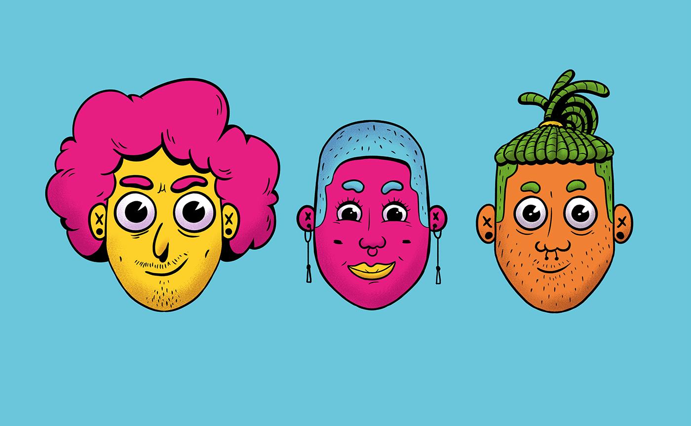 2D branding  colorful culture design doodles Ilustração
