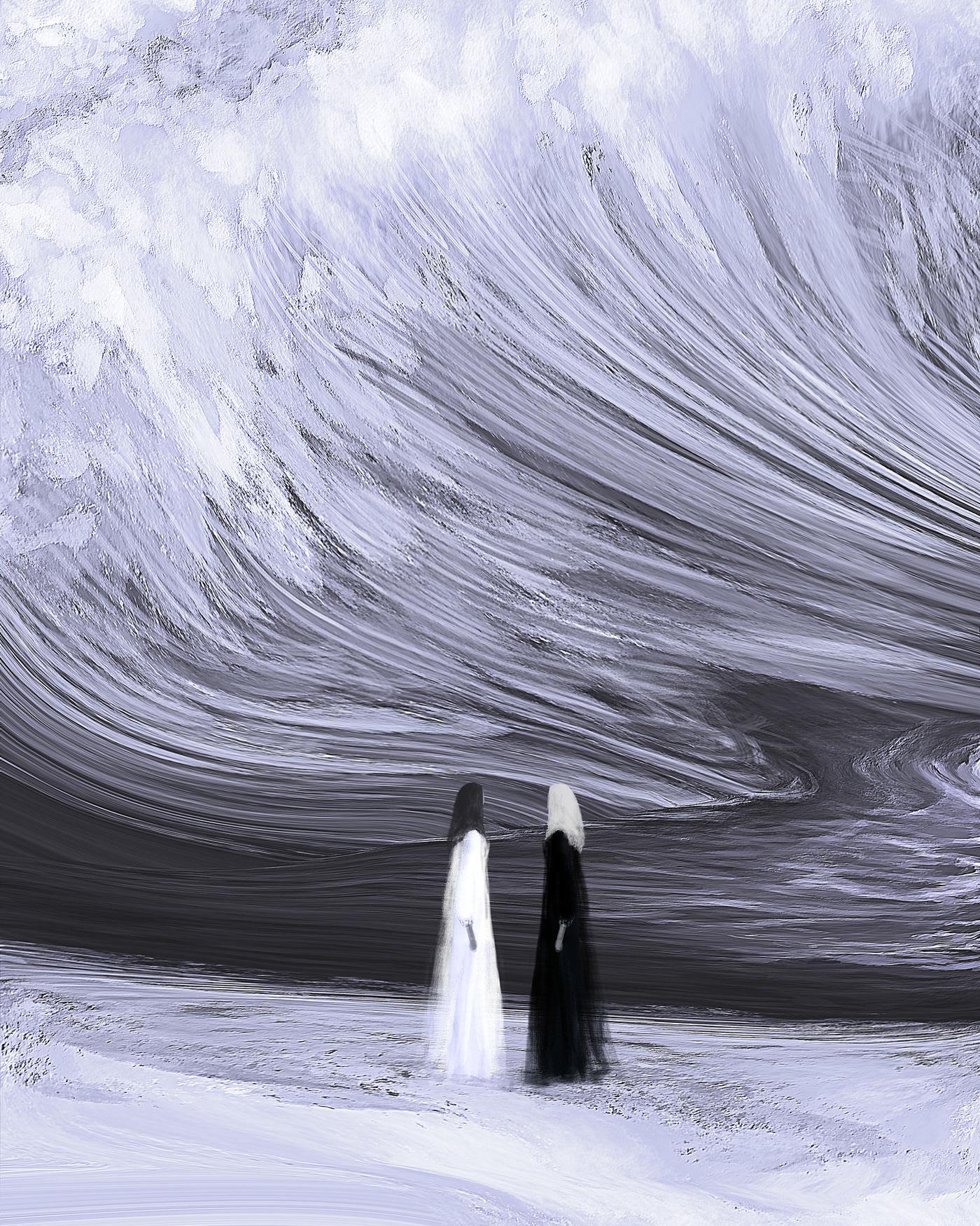 grey surreal black cloud mask winter art water