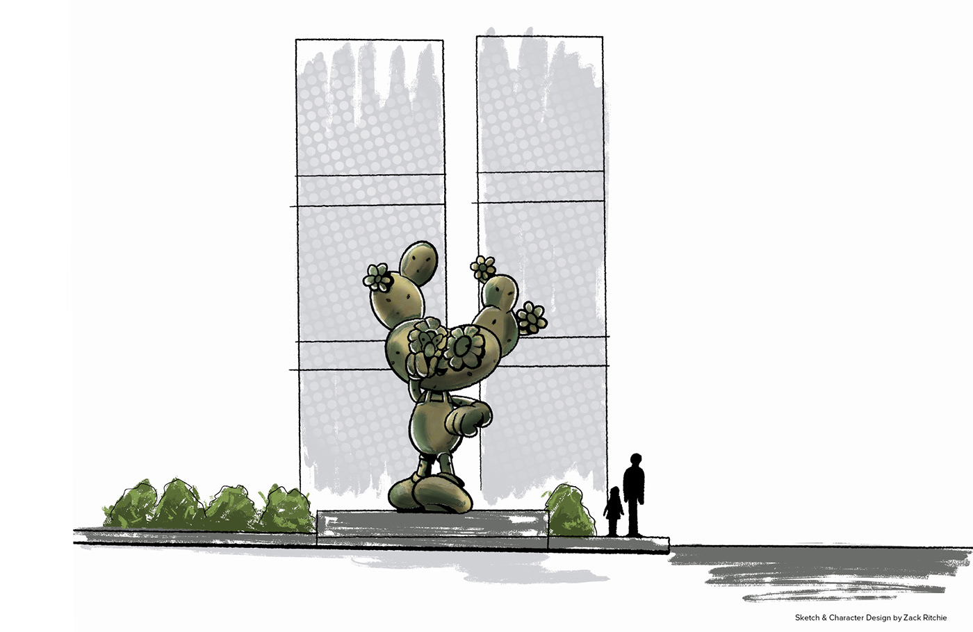 An Artistic sketch of the 5m Bronze Character Monument in a front view.