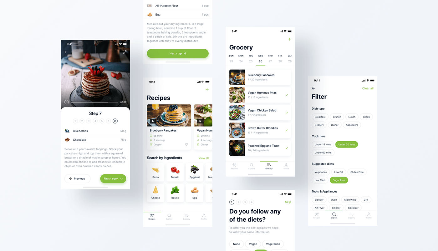 Adobe XD animation  interaction Mobile app UI ux cooking Food  nutrition recipes
