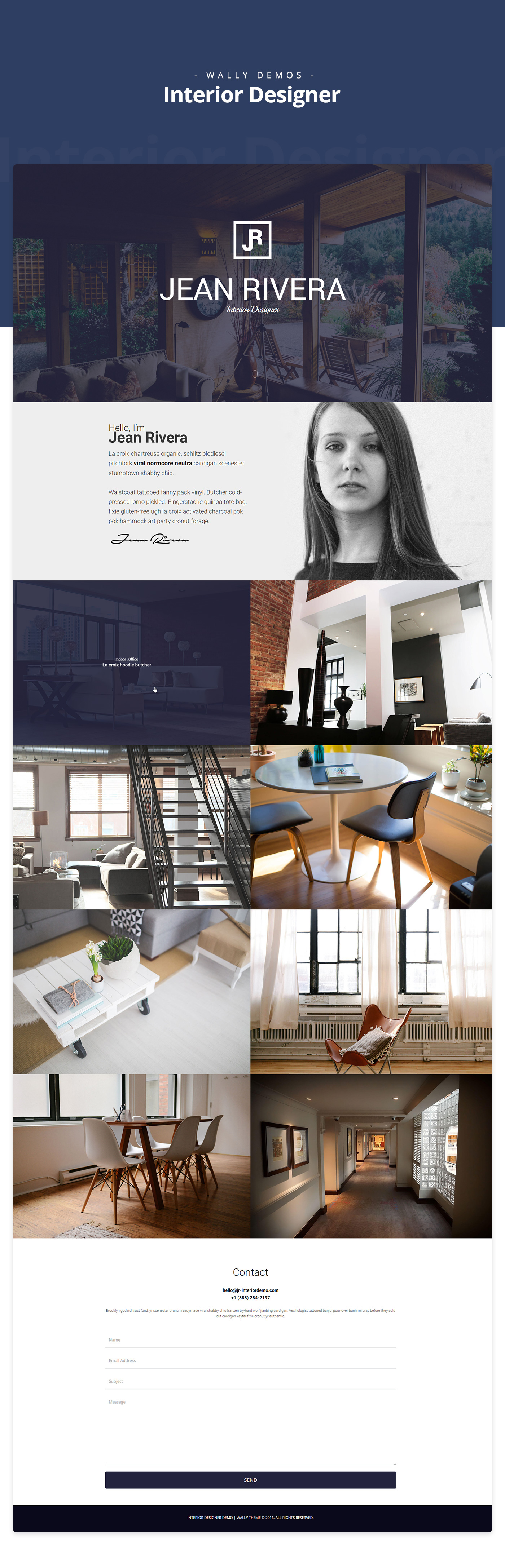 wordpress Theme demo UI ux Web Interior designer portfolio One Page