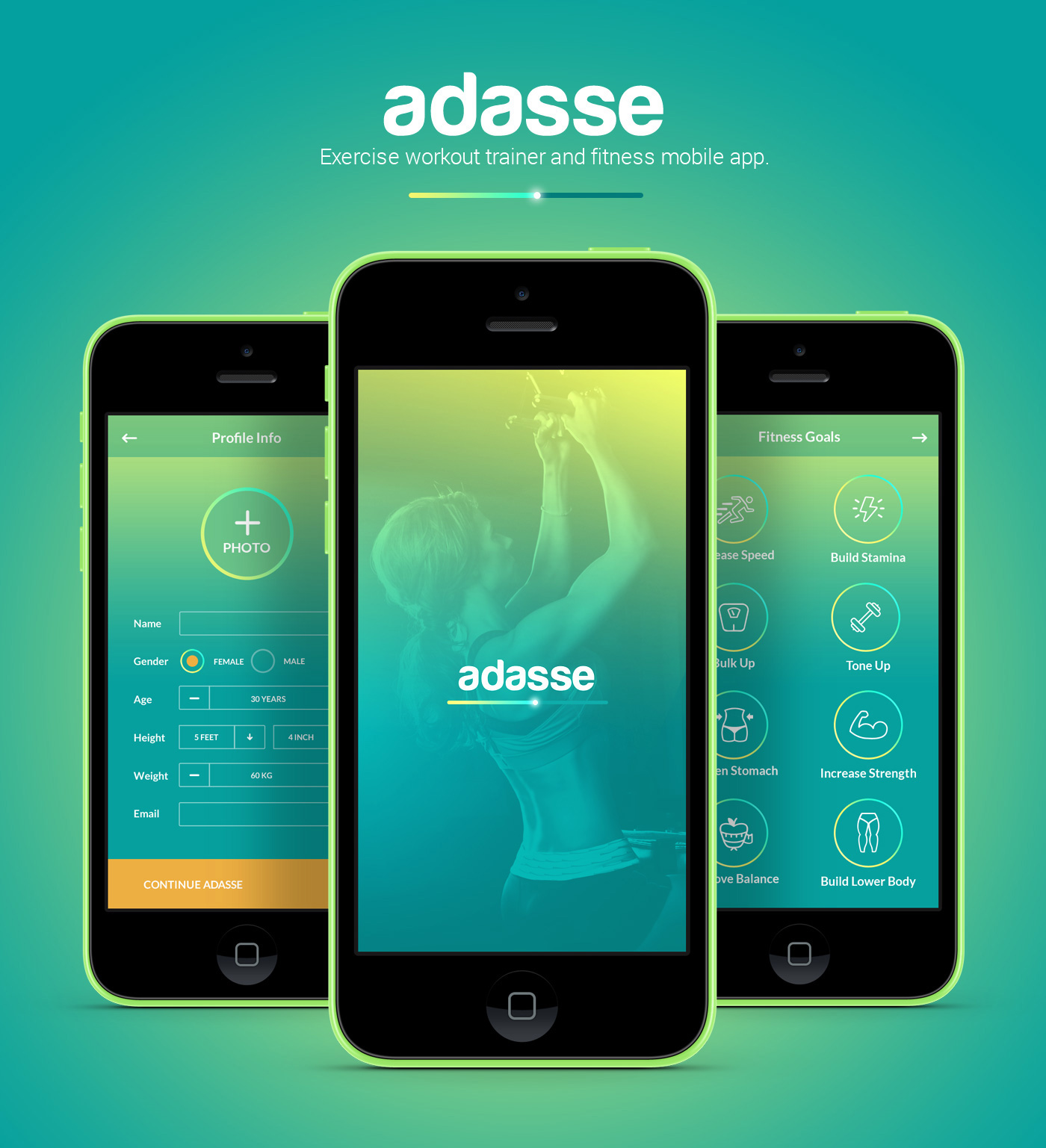 Adasse gym workout mobile app design on behance for Mobel design