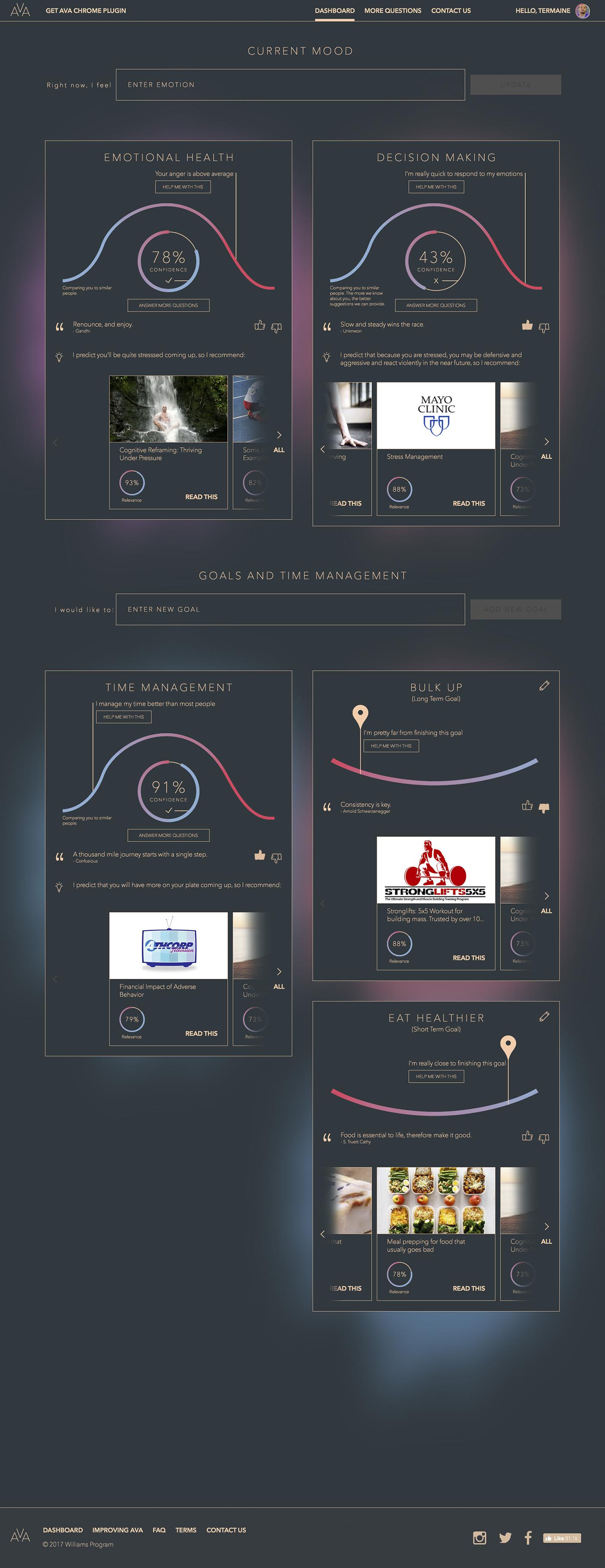 machine learning ux UI design desktop web app Predictive Behavior