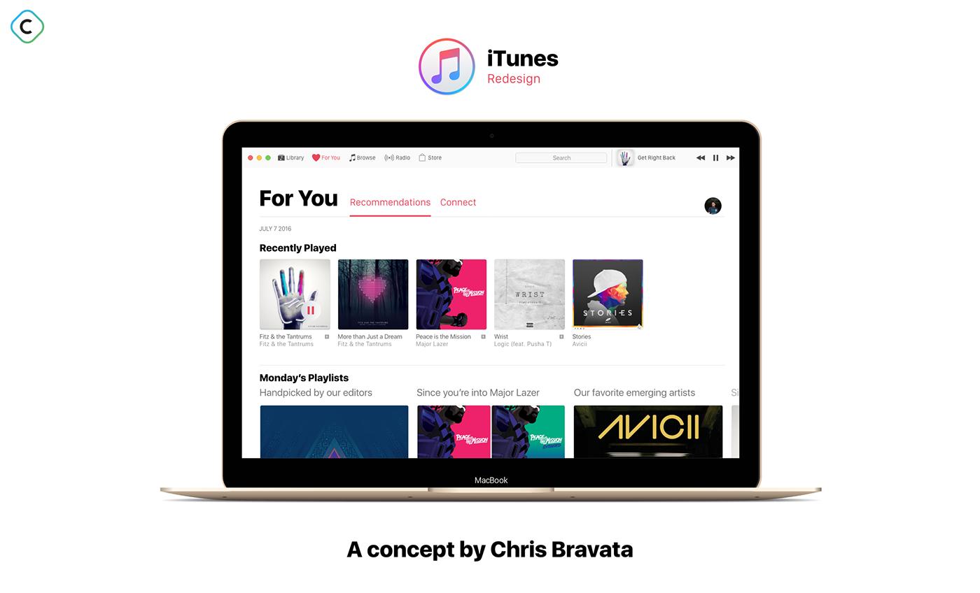 MacOS Sierra iTunes Redesign Concept on Behance