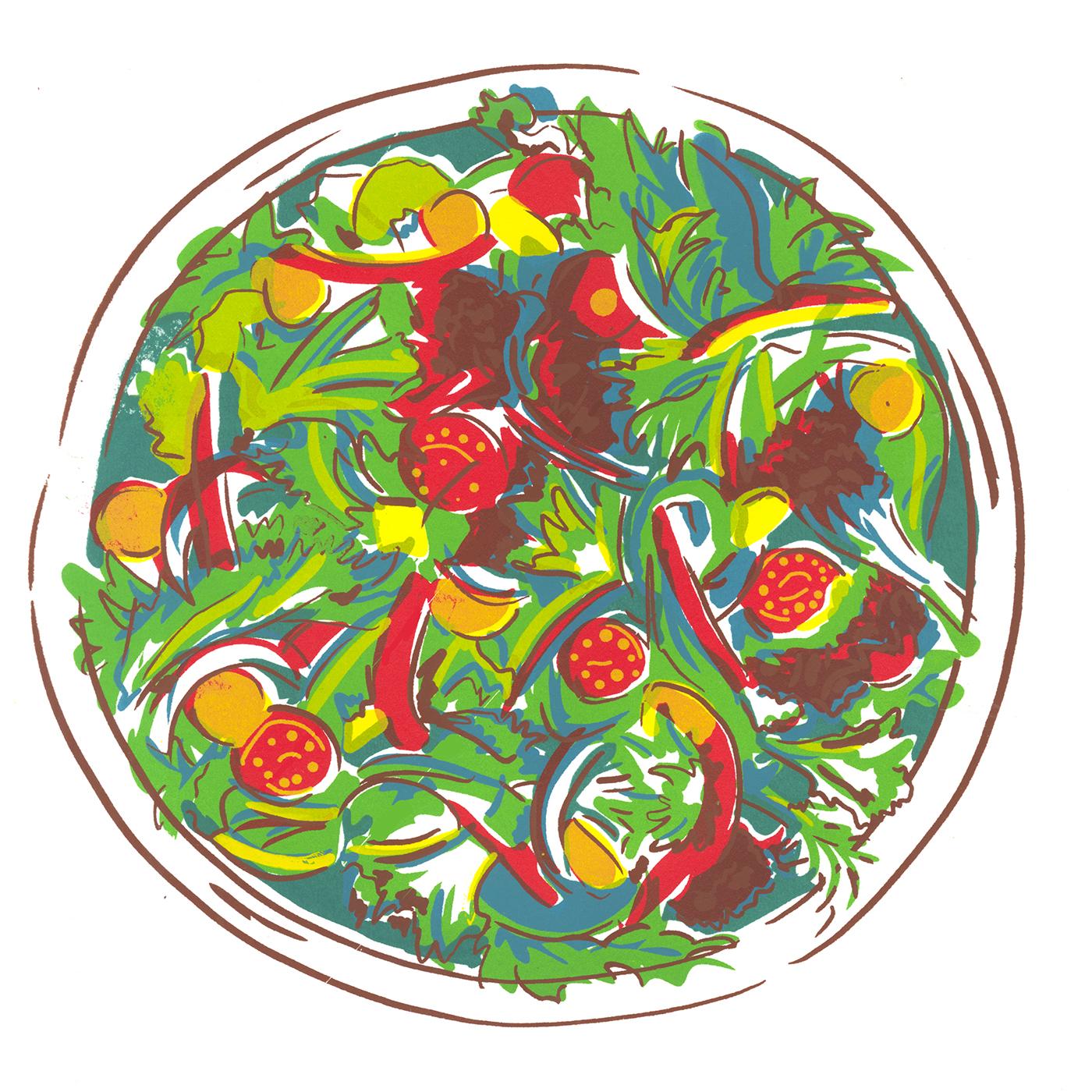 Screenprinting screenprint printmaking ramen Cereal salad Food  bowls food illustration