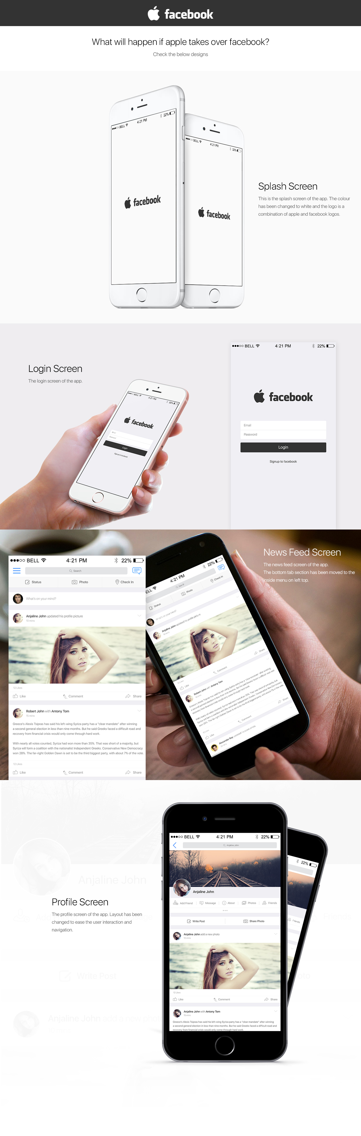 apple facebook Apple + Facebook design concept Redesigning concept