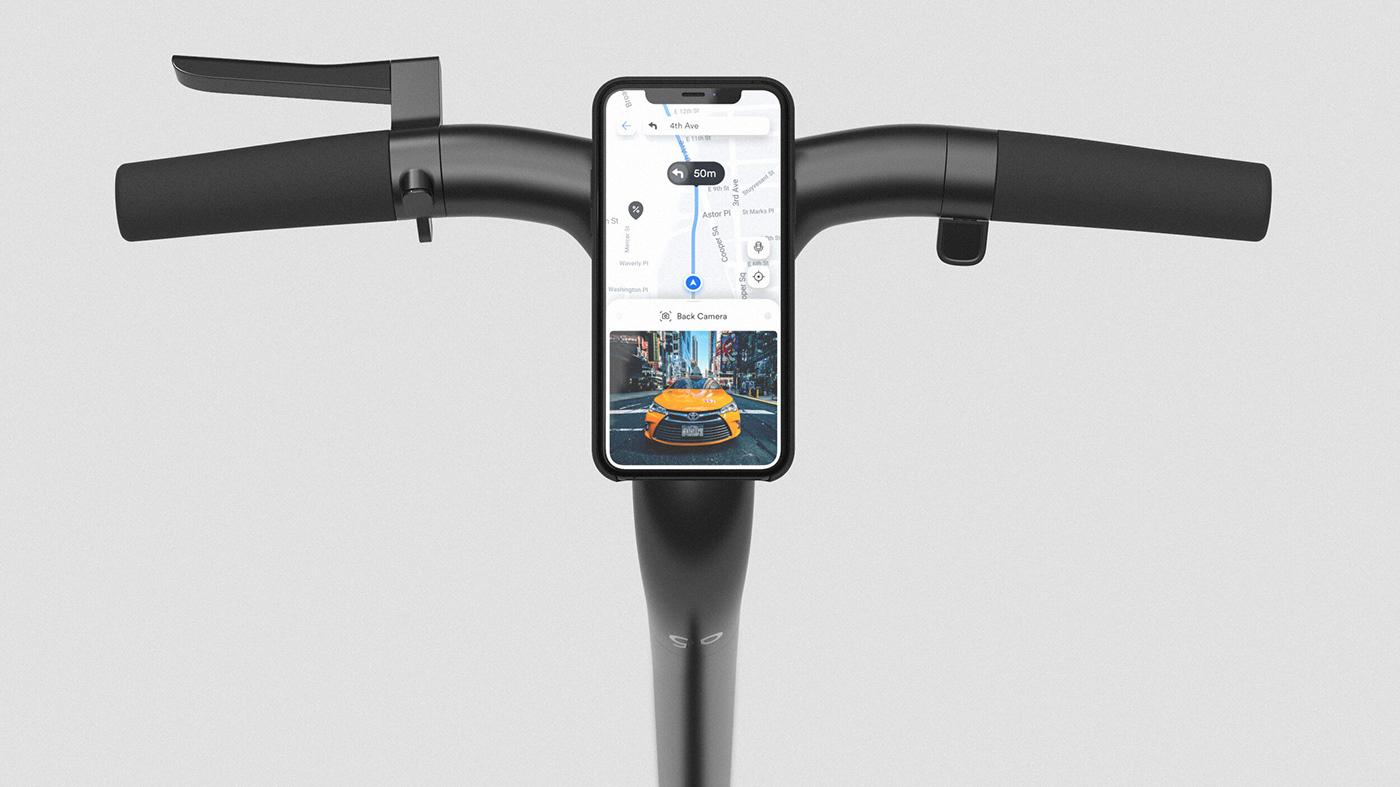 Escooter industrial design  mobility transportation UI ux