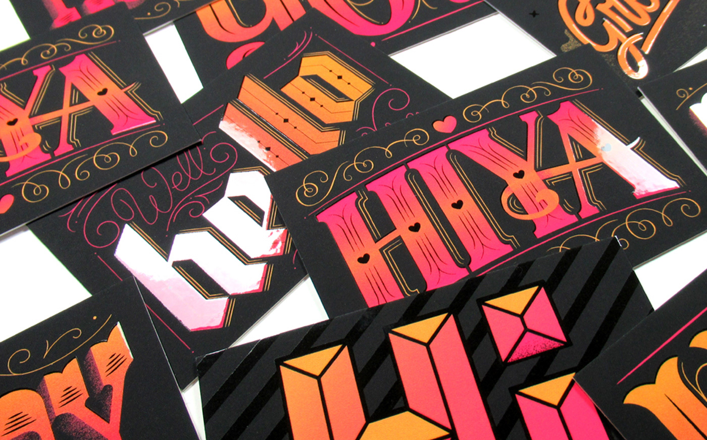 type typography   typographer letterer lettering bespoke lettering Business Cards spot uv print graphic design