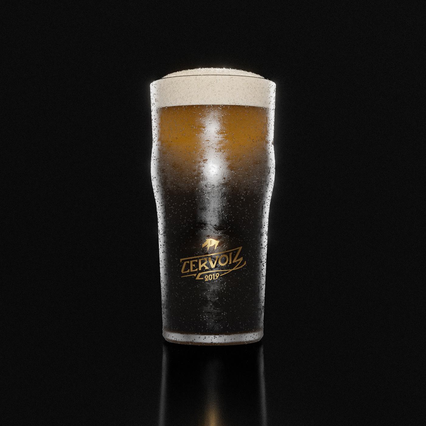 Cervoiz glass full of beer 3D render
