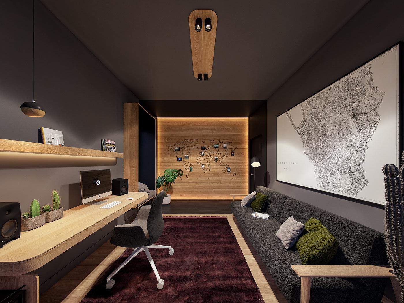 concrete cosy desin house Interior minimal modern pin Plum wood