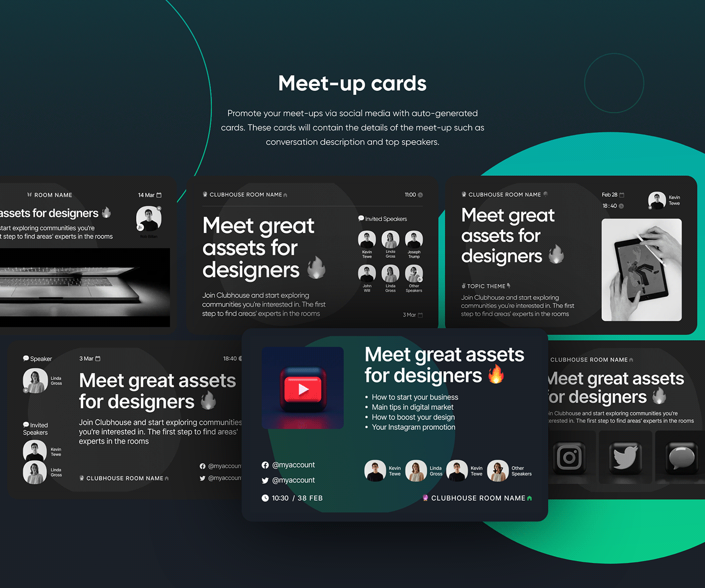 audio chat chat room Clubhouse dark mode Mobile app Podcasts redesign social media UI ux