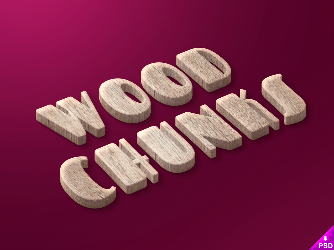 wood,chunks,text,Style,freebie,Perspective,Isometric,easy,Smart,objects