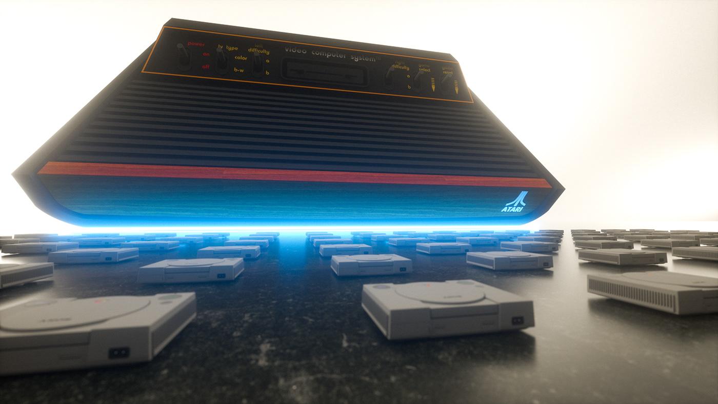 atari Atari 2600 cinema 4d Cyberpunk game console Gaming playstation playstation 1 Render xbox