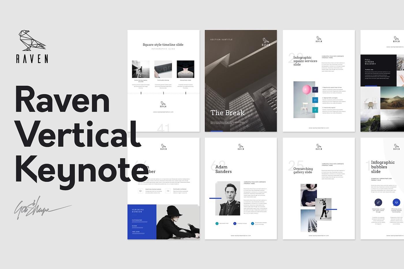 Keynote Templates   Raven Vertical Keynote Template Gift Resume On Behance