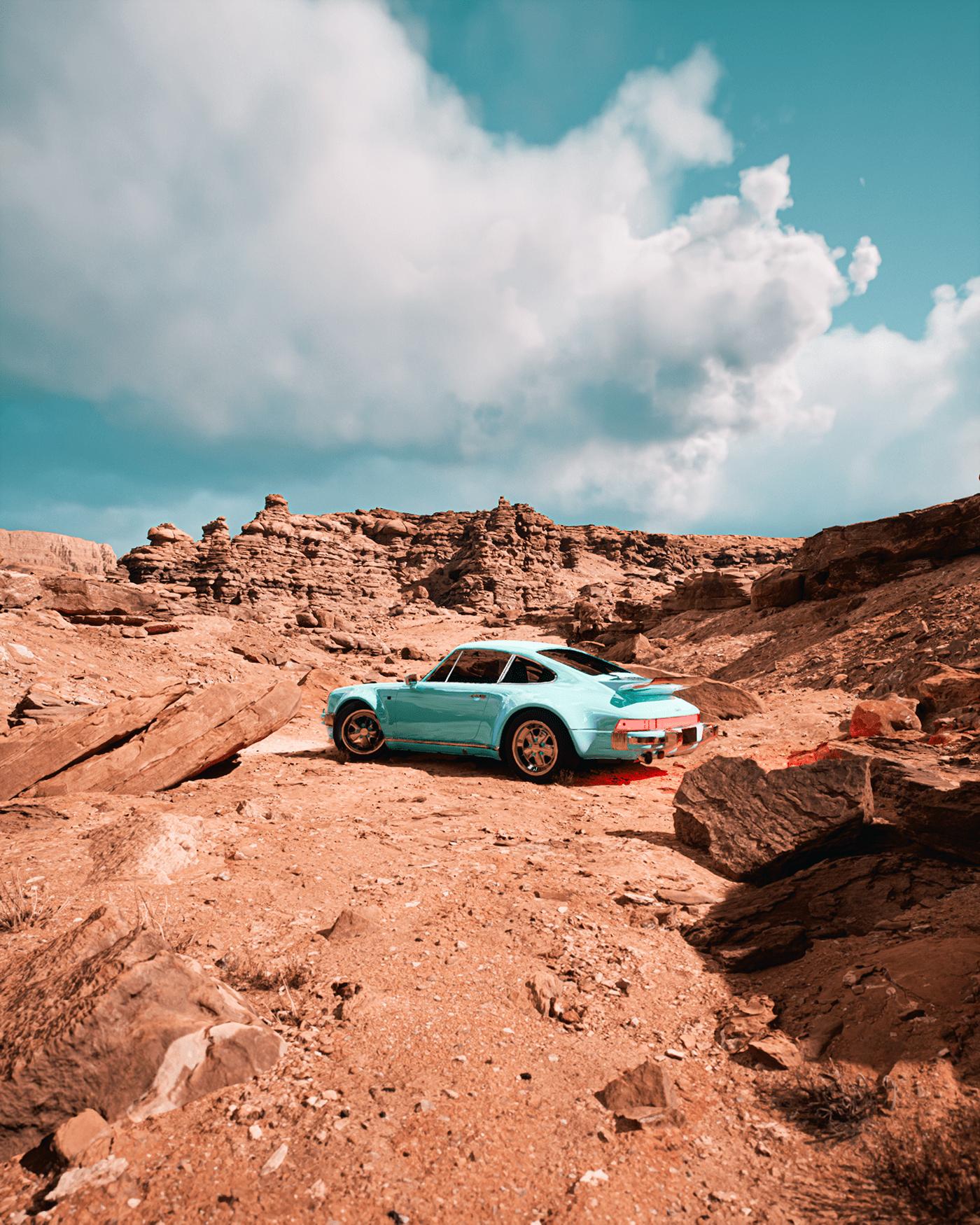 CG Grand Canyon photo Porsche Porsche 911 realistic Render UE4 UE5 Unreal Engine