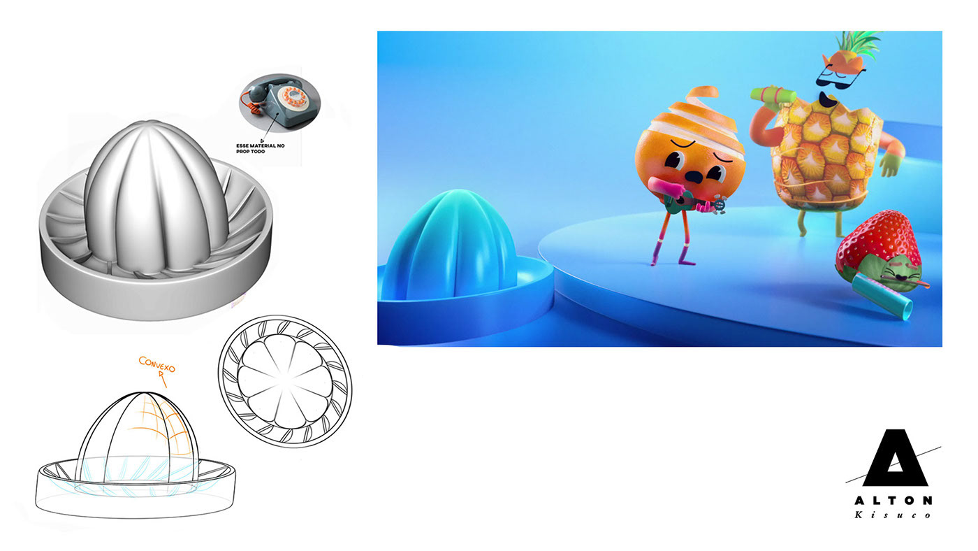 animation  Character design  Visual Development motion graphics  Style Frame fruits
