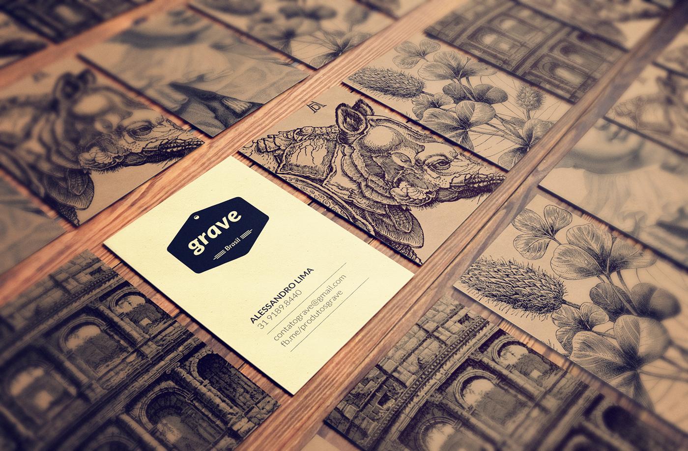 GRAVURA etching engraving business card brochure fold ecobag brand vintage bookmark fanpage Kraft texture color