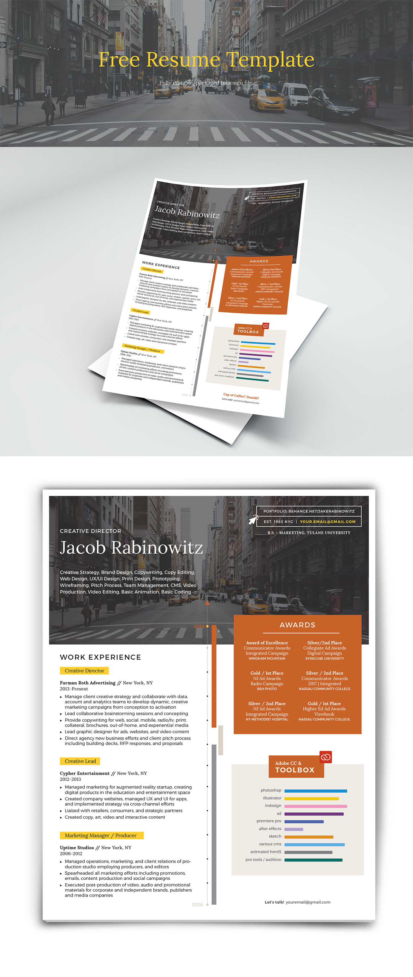 Free Creative Resume Template is an elegant and creative resume template to help your job search.