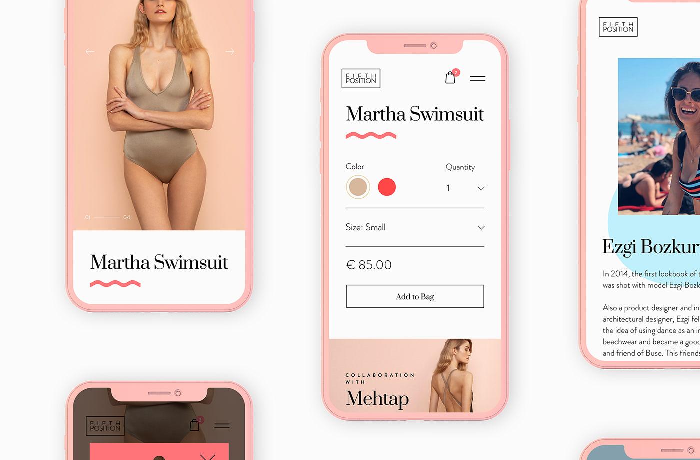 Website design swimwear BEACHWEAR Fashion  luxury beauty UI ux logo