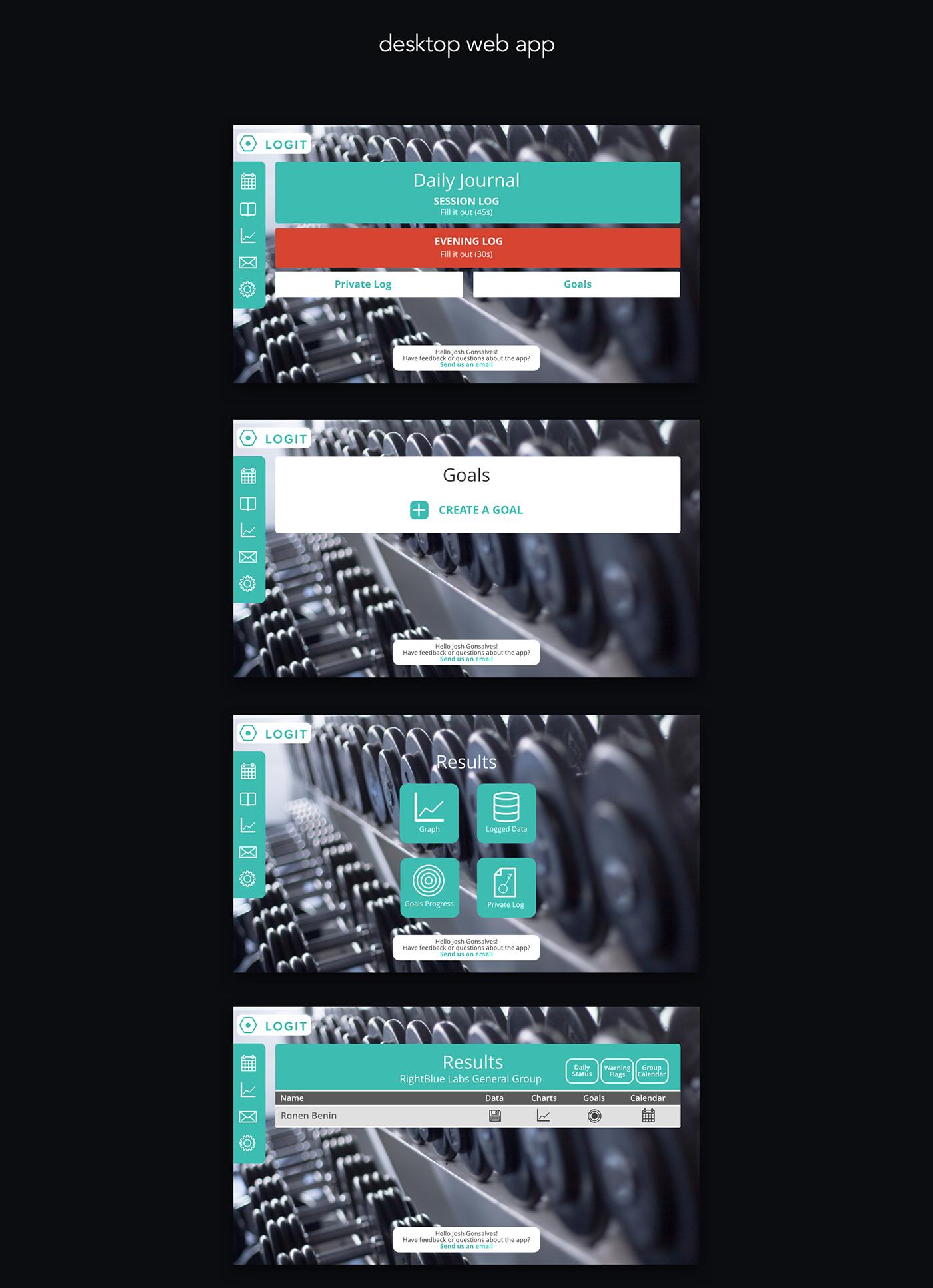 Adobe Portfolio UI ux sport fitness app web app android material design JG Design