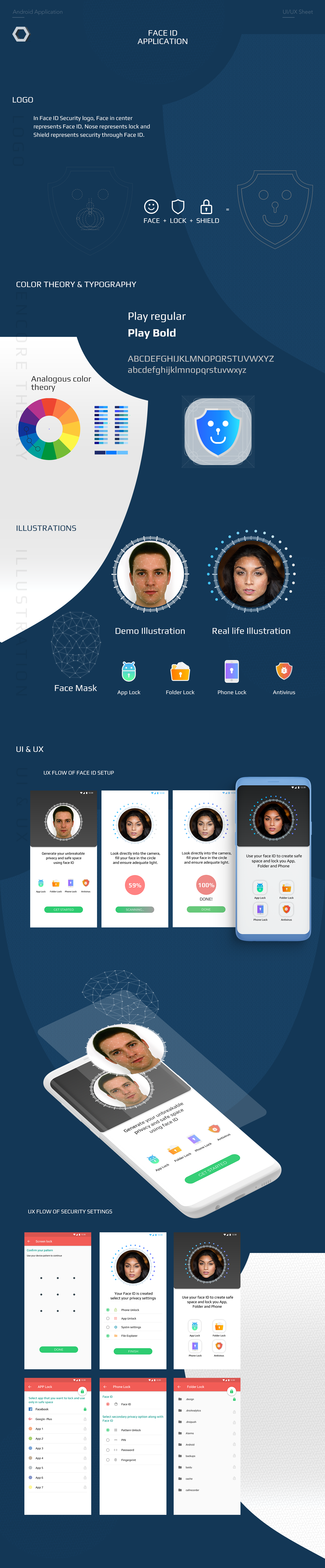 Face ID and Security App UI XD Freebie