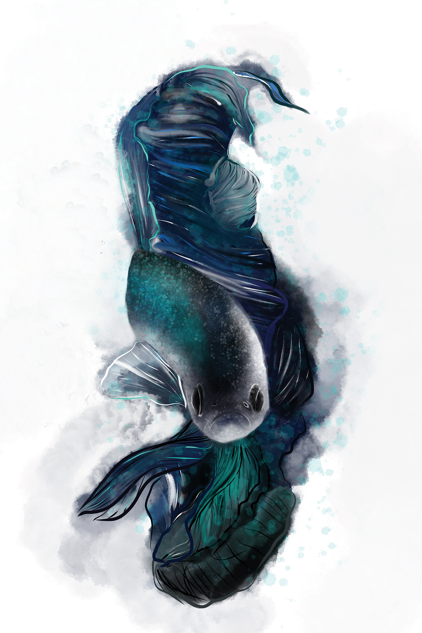 Image may contain: sketch, marine mammal and painting