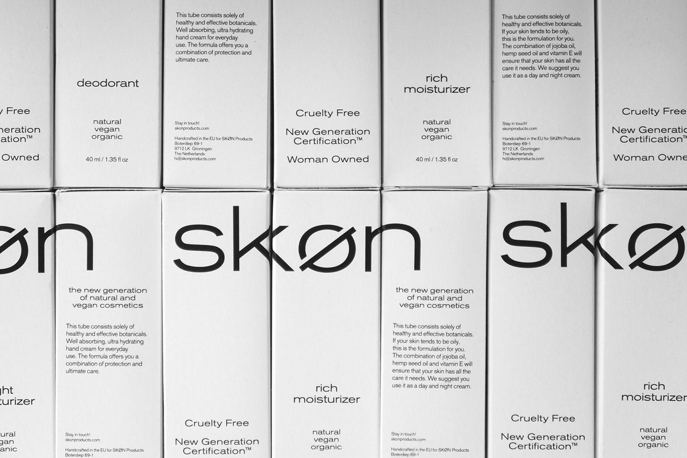 Adobe Portfolio cosmetics graphic design  Identity Design Logo Design packaging design Rudmer van Hulzen skincare SKON SKØN visual identity