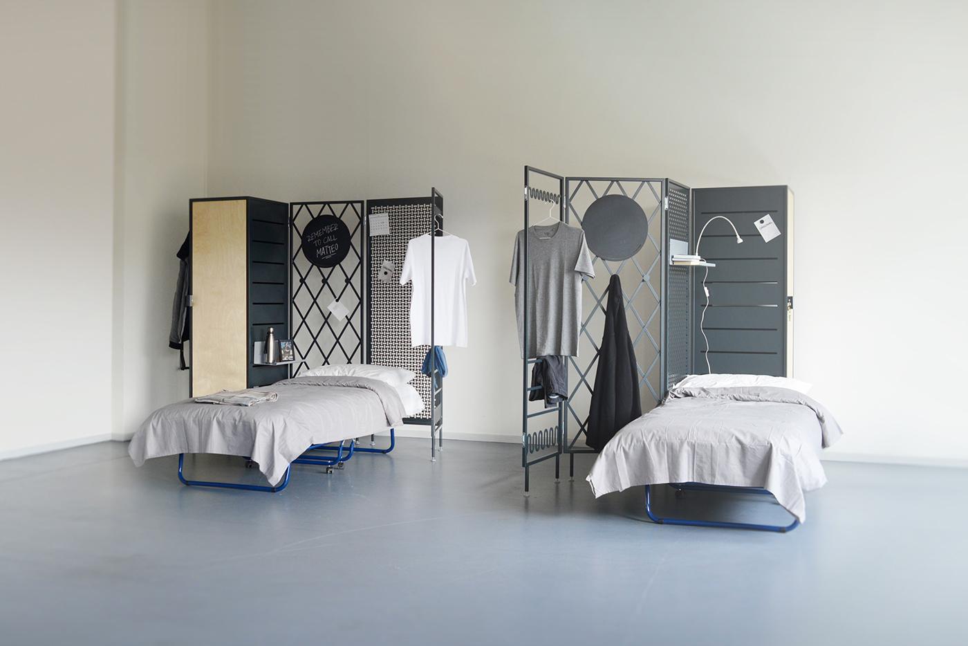 patchwork cohabitation reception centres roommates partition homeless furniture design divide space social design