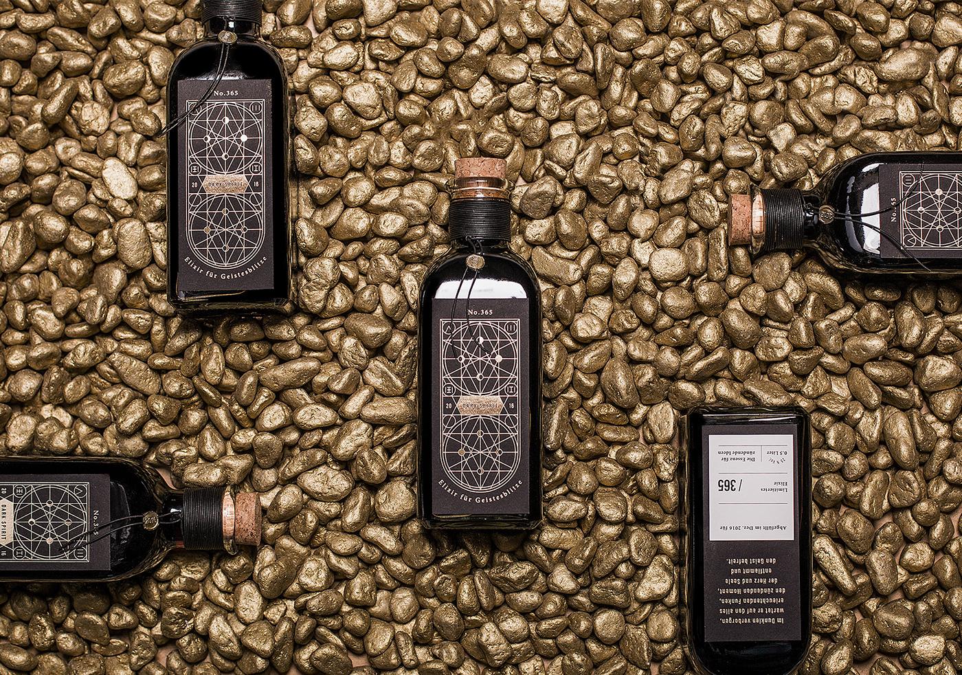 liquor Packaging bottle package design  gold Hot Foil alcohol beverage labeling