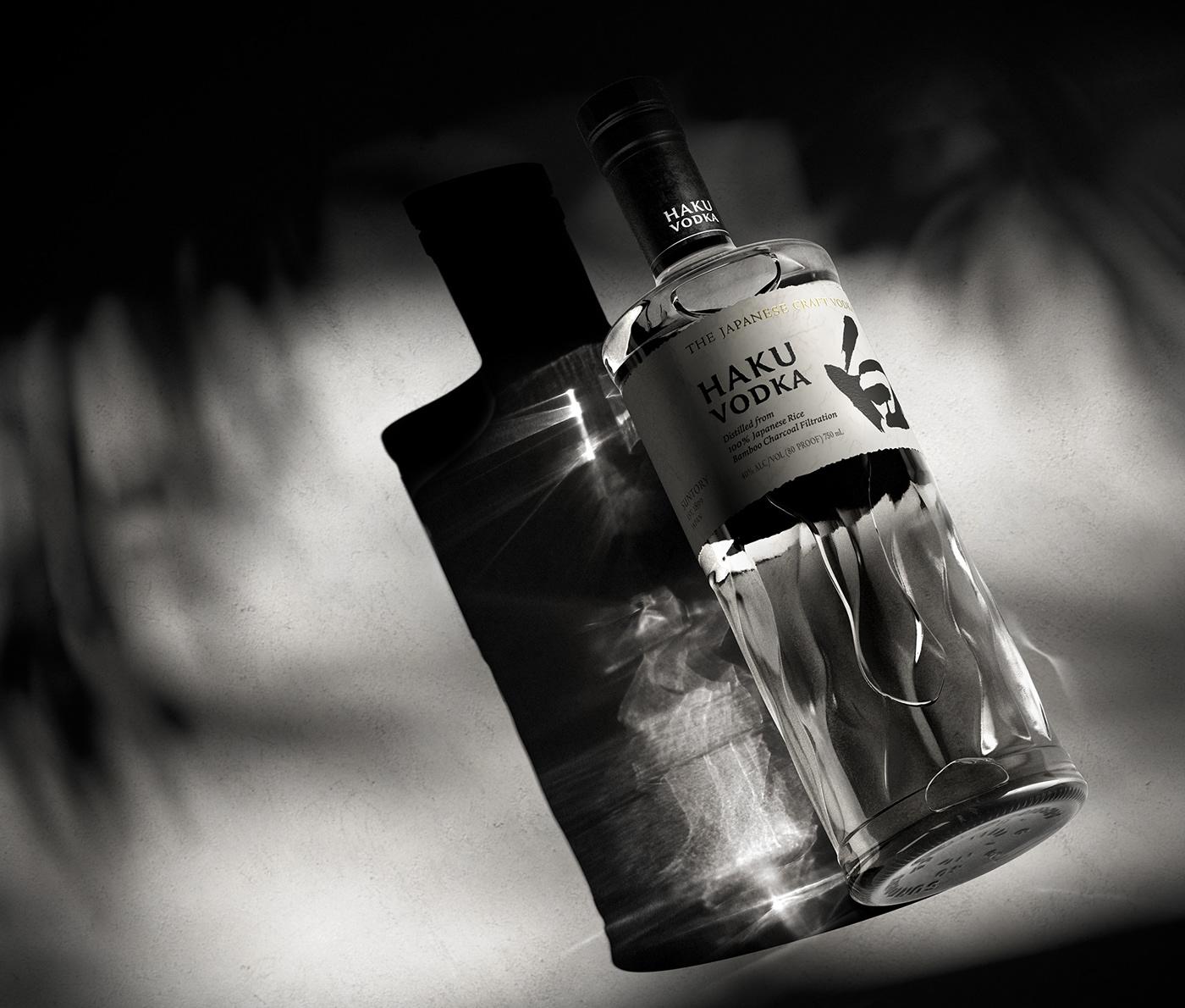 bottle CGI haku Haku Vodka House of Suntory japanese Japanese Vodka retouching  Vodka