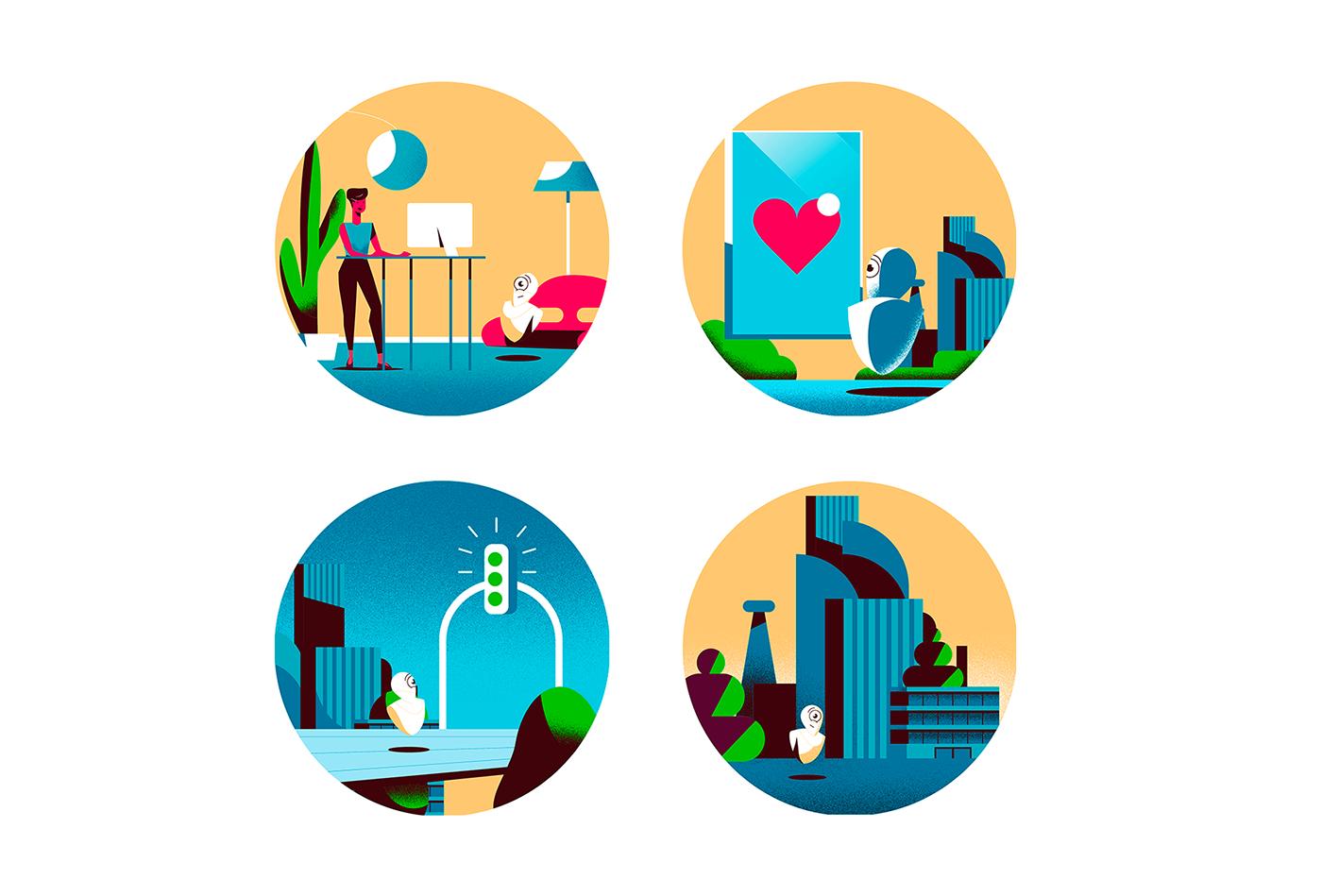 city design job colors portrait Illustrator future sci-fi science robot