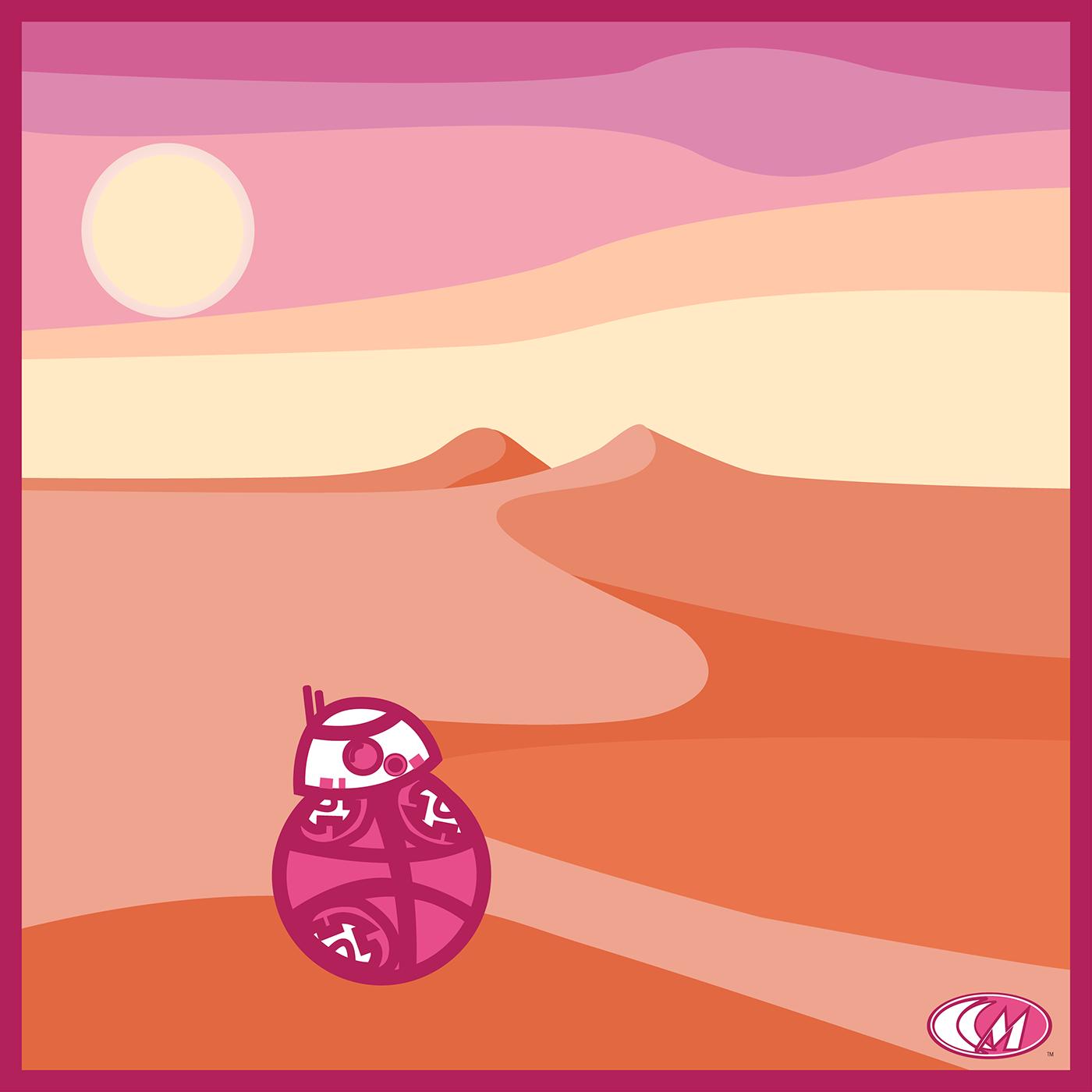 ILLUSTRATION  desert Landscape vector star wars bb8