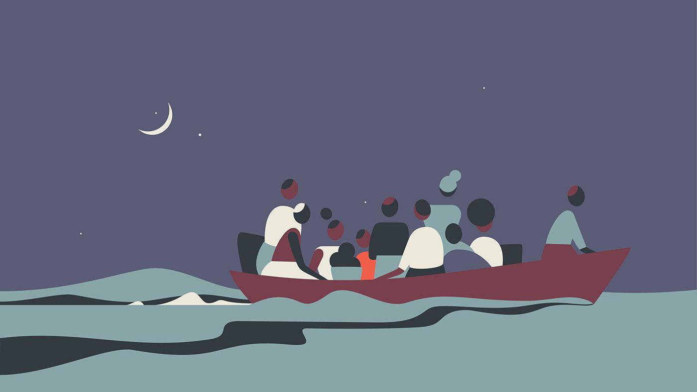 Image may contain: cartoon, illustration and moon