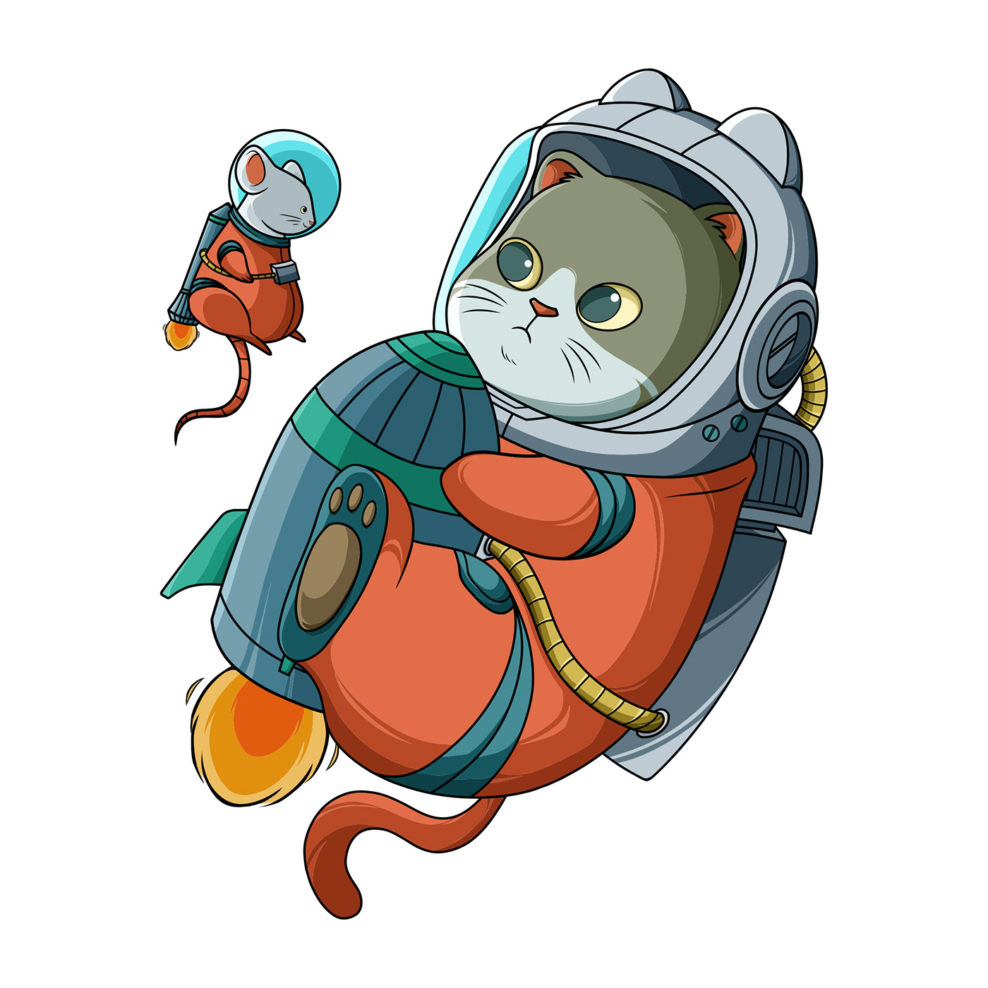 animal astronaut cartoon Cat cute Flying mouse paw rocket Space