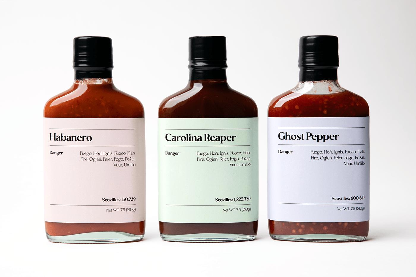 Habanero, carolina reaper and ghost pepper bottles.
