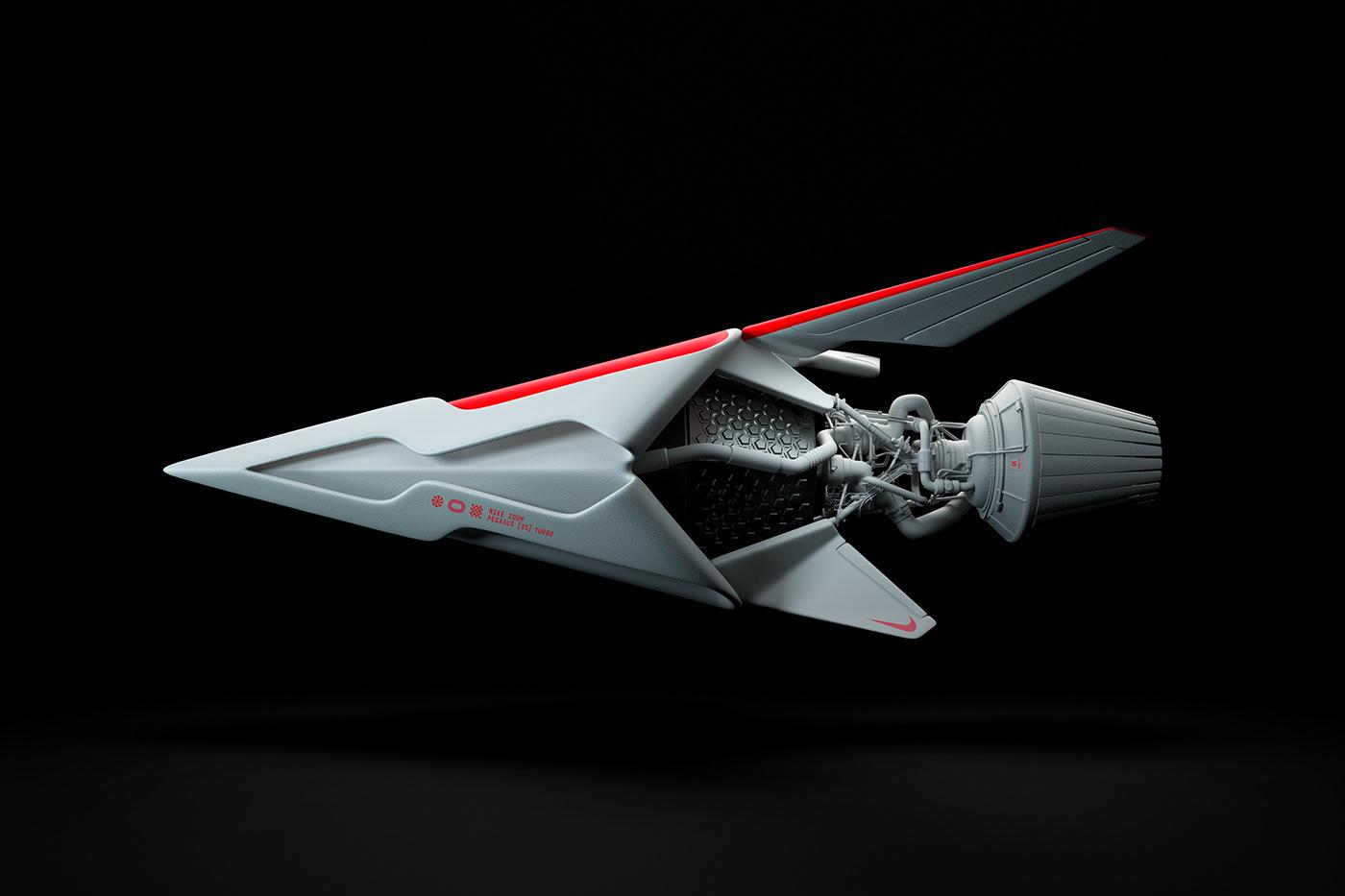 Nike 3d design flight Aircraft rockets Space  future Eccentric design process CGI
