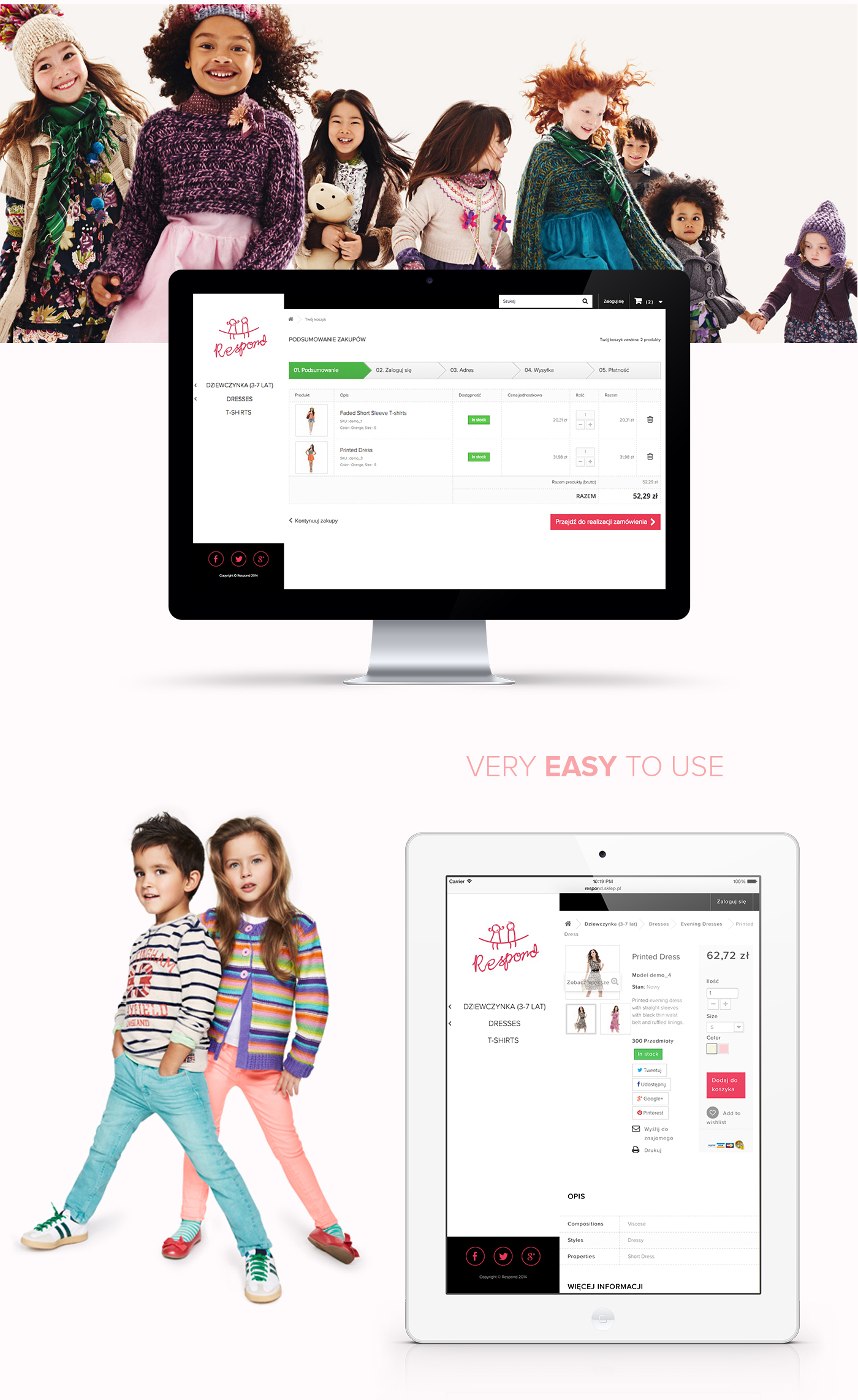 shop kids clothes Web Project site commerce Layout business corporate company logo symbol Responsive rwd