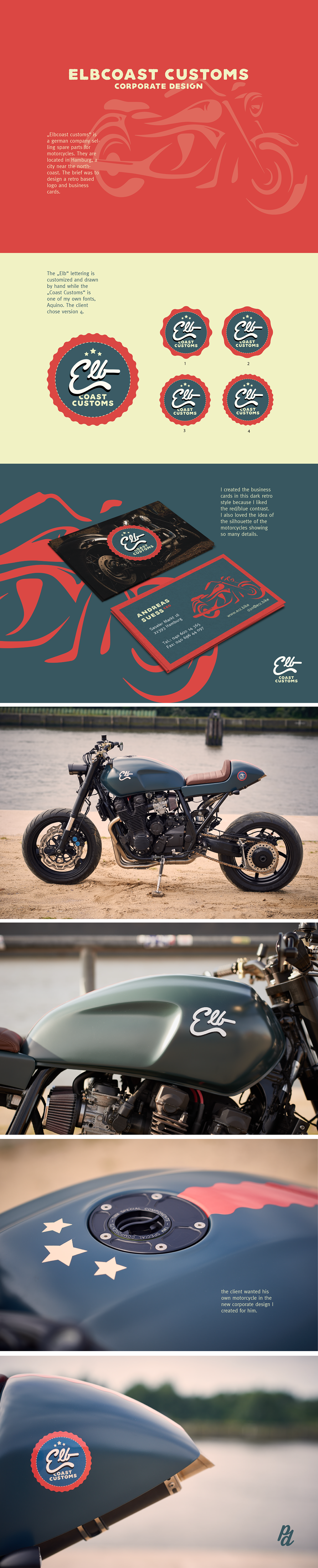 Reto vintage elbcoast customs motorcycle sport hamburg west coast Coast north coast beach logo AQUINO