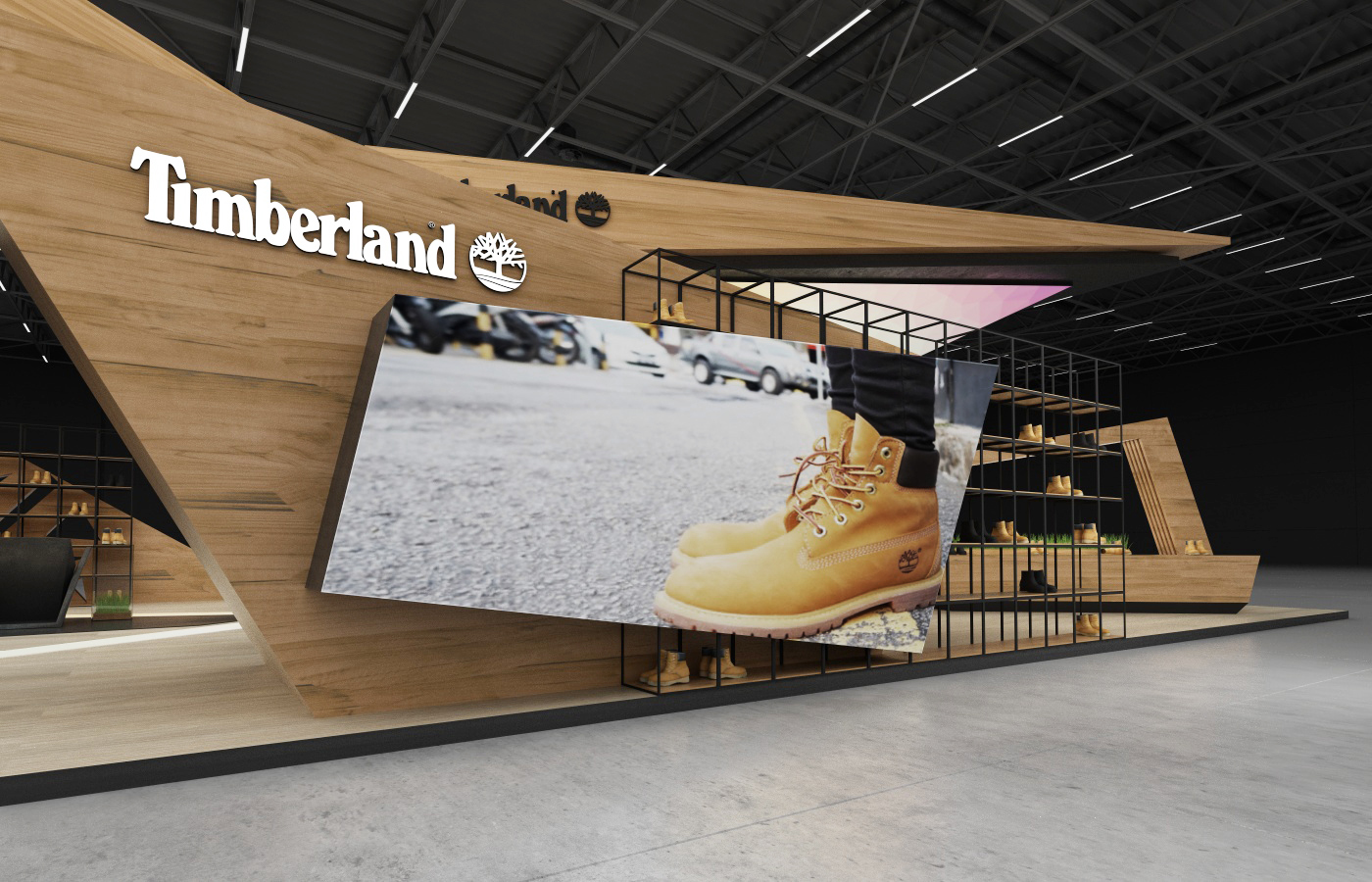 Exhibition Stand Industrial : Timberland exhibition stand on behance