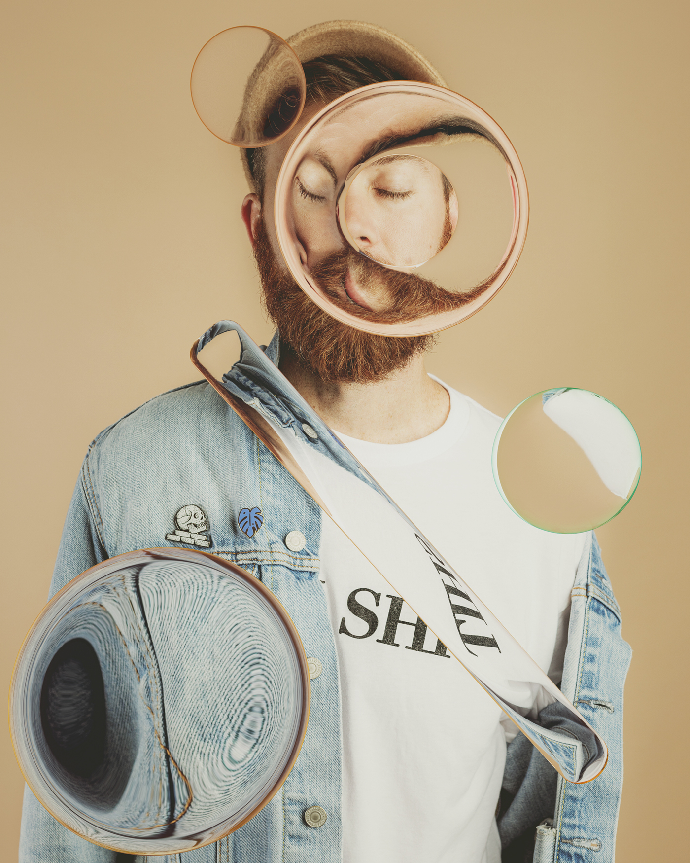 3D c4d portrait big eye glass refraction octane Photography
