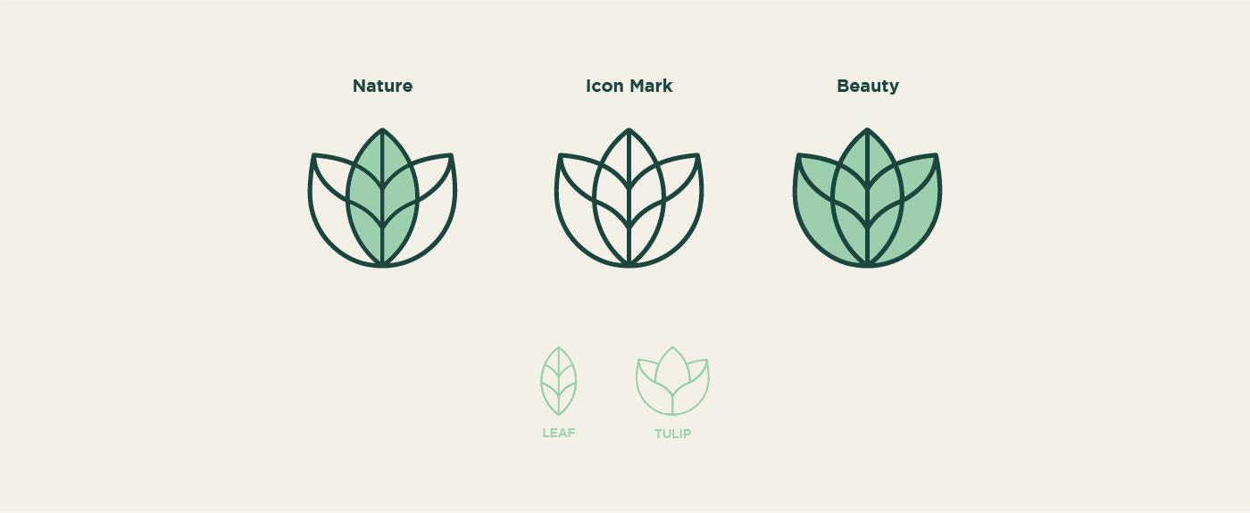 beauty branding  cosmetics green identity logo Nature pattern Saudi Arabia visual identity