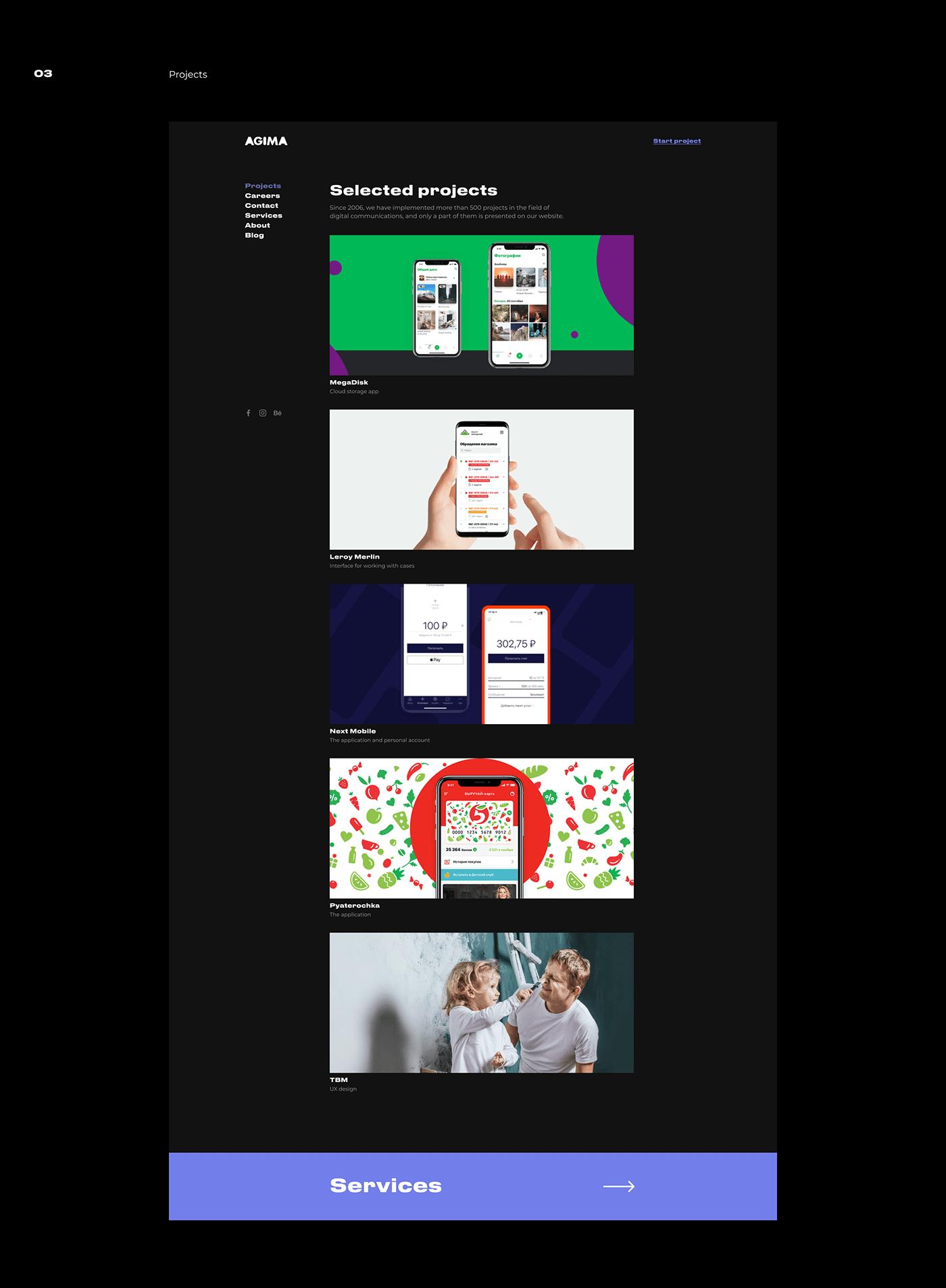 agency clean Layout minimal mobile studio UI ux Web Webdesign