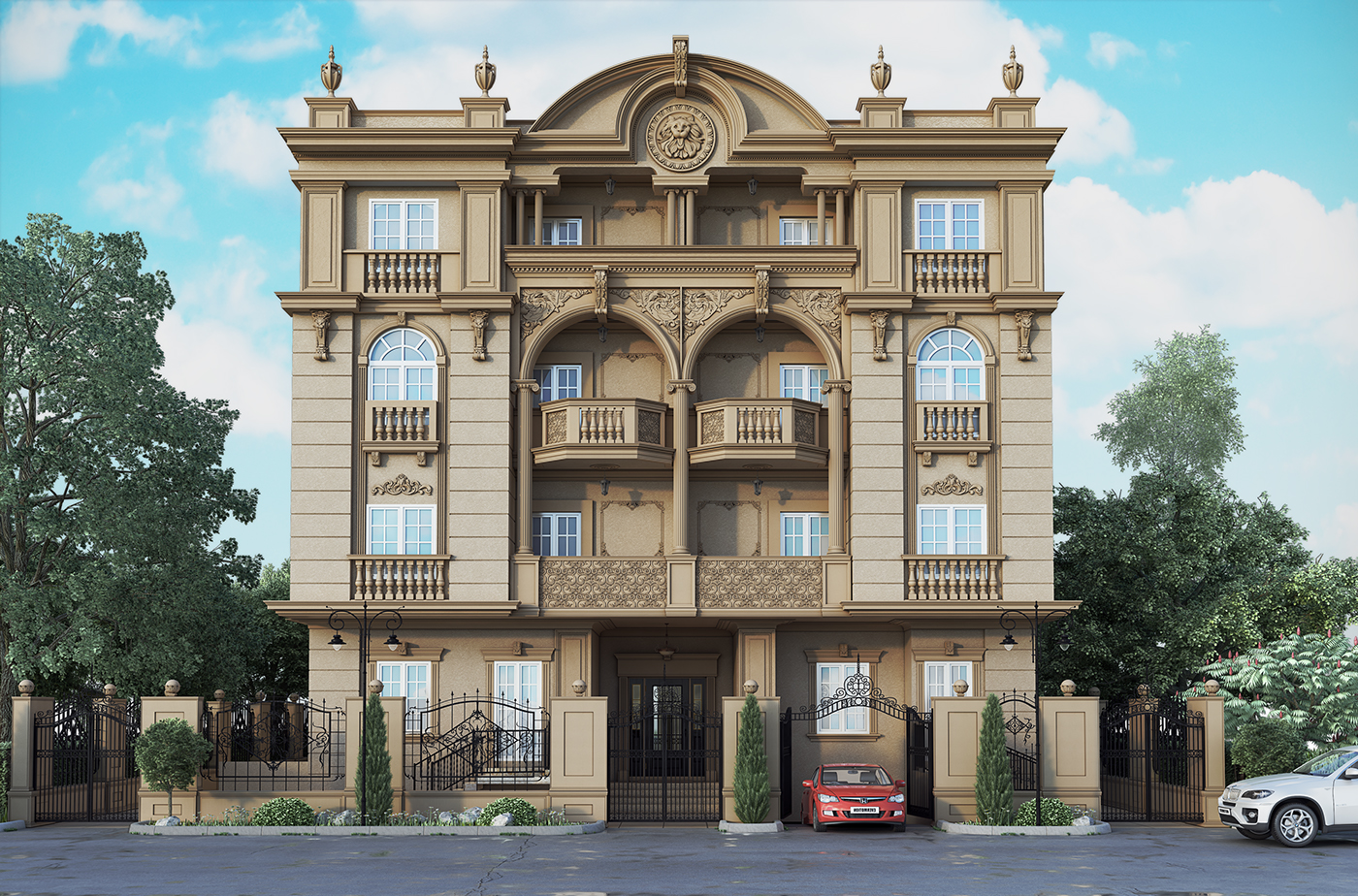 Classic residential building on behance for Classic house design exterior