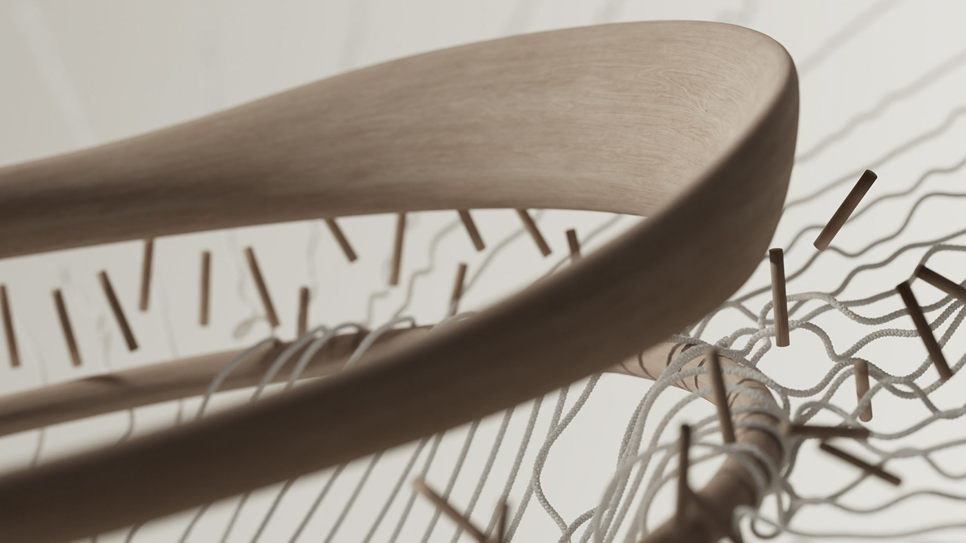 3D chair fabric motion graphics  product design  wood wool