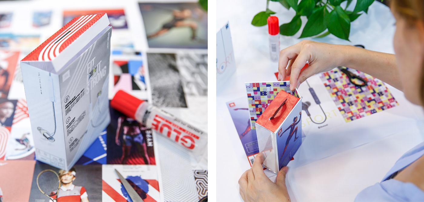 Packaging design industrial design  Digital Art  sport headphones jbl Layout Structure Design editorial design