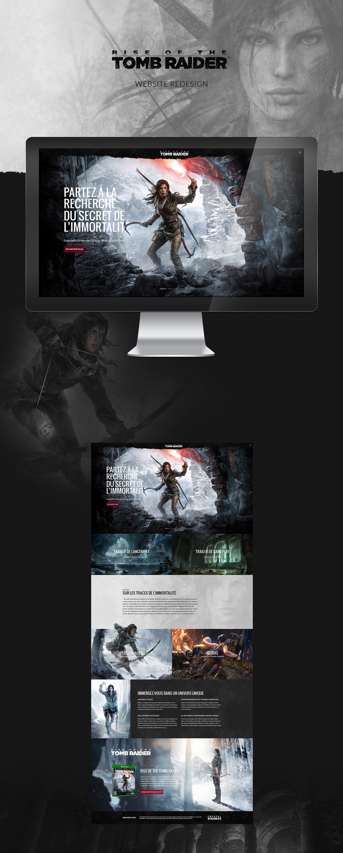 ROTTR tomb raider lara croft square enix Gaming game Games redesign Webdesign rwd rise tomb raider