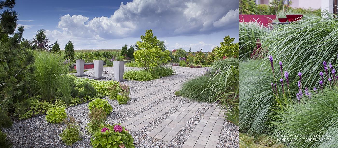 ogrod zwirowy nowoczesny ogród projekt ogrodu Czerwony red gravel terrace garden design