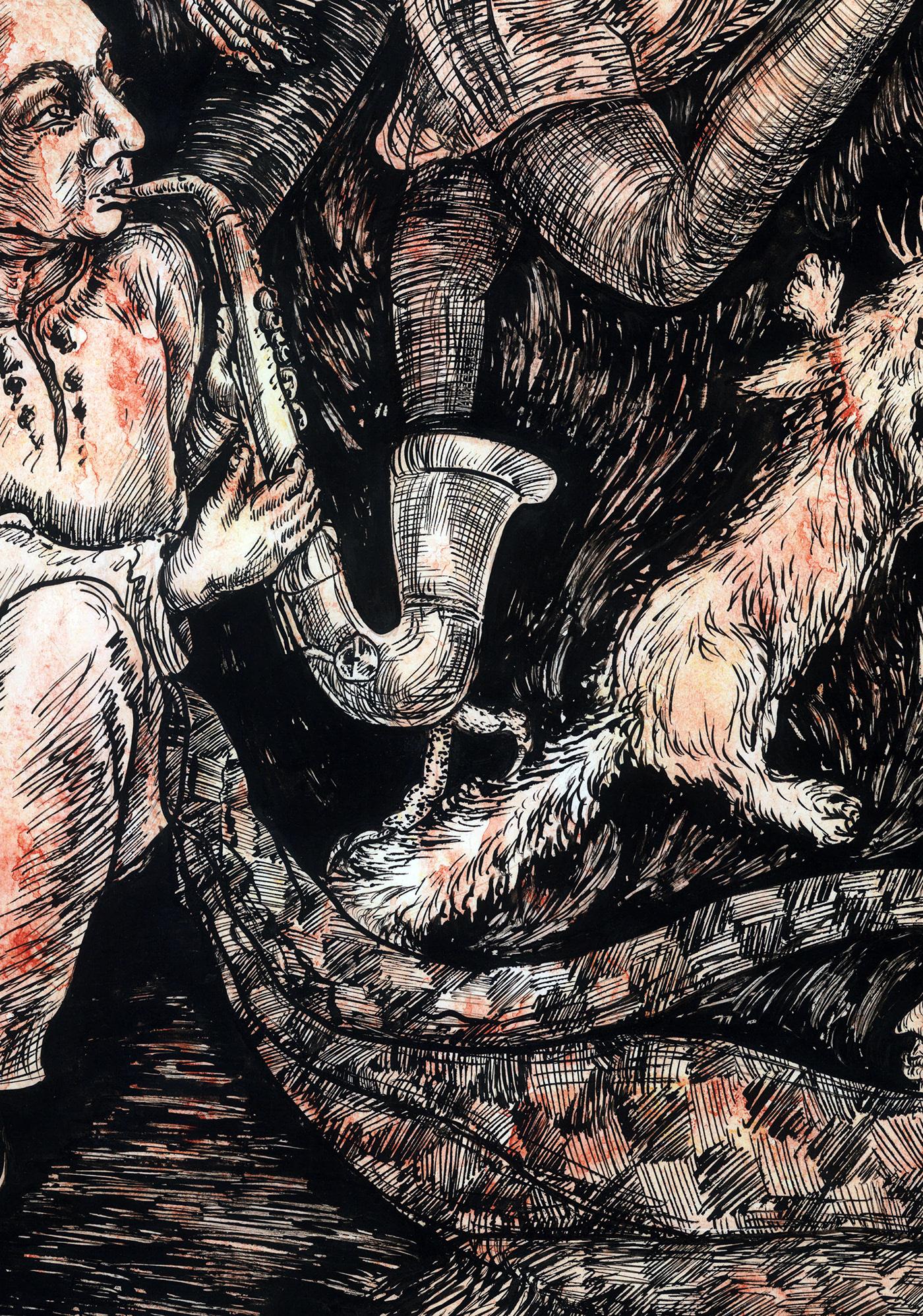 jazz saxophone Drawing  red inspiring ILLUSTRATION  art ink artwork DANCE