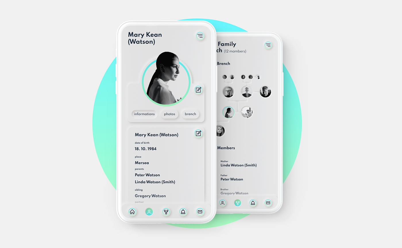 app application design system family genealogy neumorphism social network UI ux branding